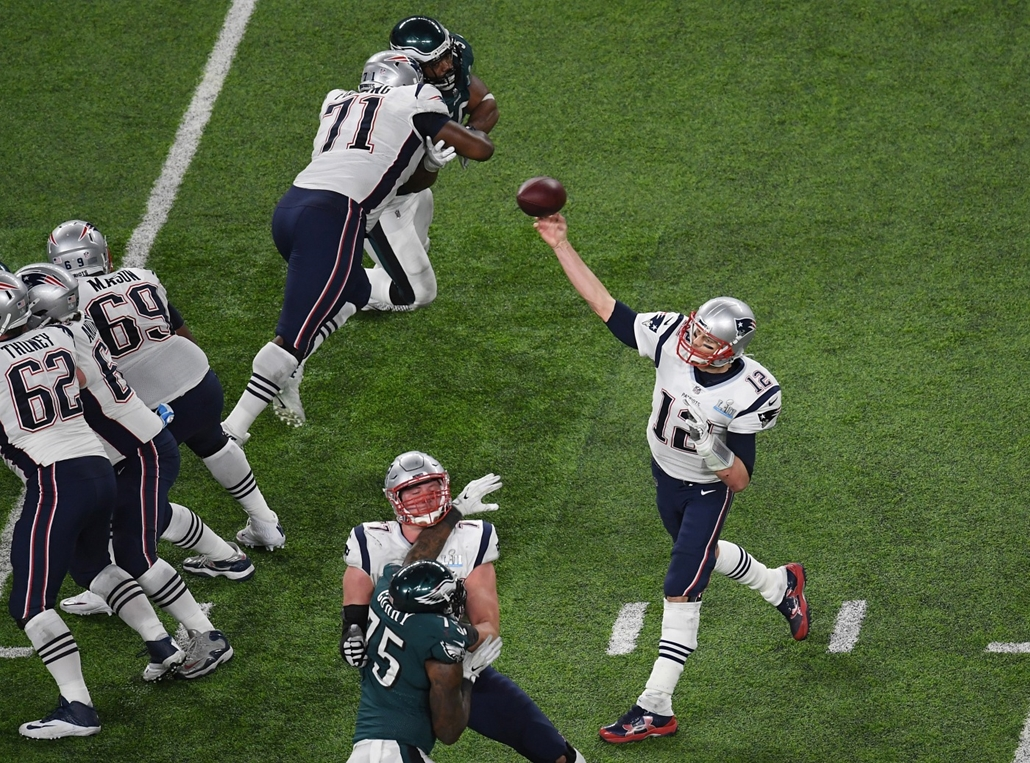 afp.18.02.04. - Minneapolis, USA: Tom Brady (New England Patriots) az 52. alkalommal megrendezett Super Bowl döntőjén a minneapolisi U.S. Bank Stadionban 2018. február 4-jén. - amerikaifutball, amerikai foci, nfl