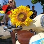 Bud Spencer-es, oldalkocsis, napraforgós: több ezer színes Vespa rajzott a Balatonnál – videó