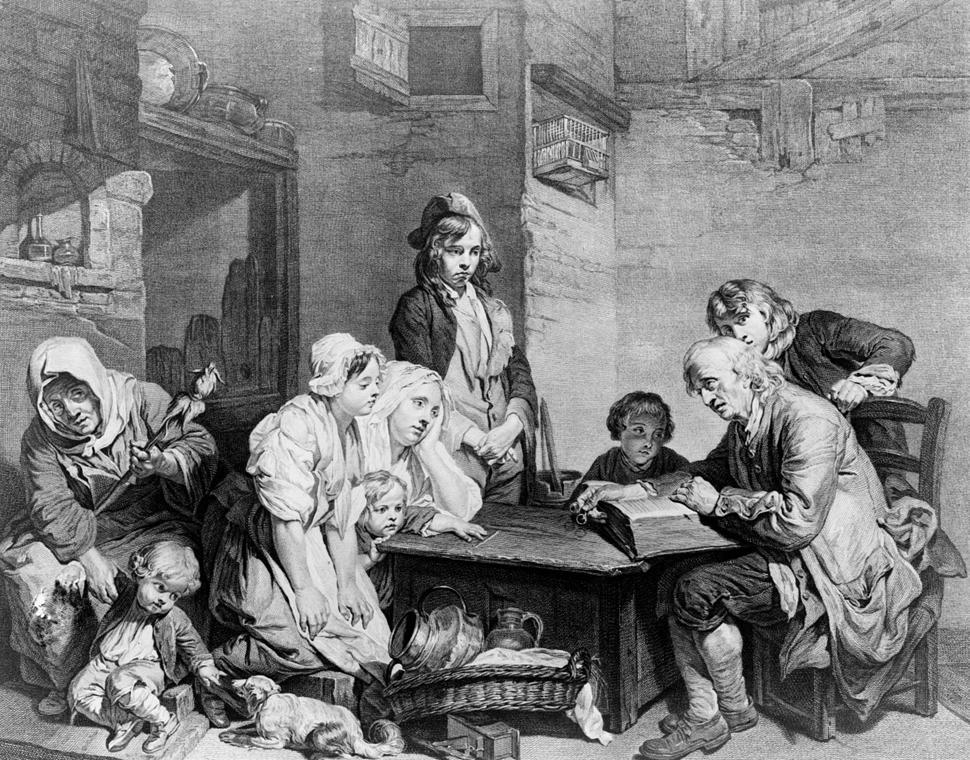 Bibliaolvasás - Jean-Baptiste Greuze festménye nyomán P. F. Martenasie által készített metszet 1759-ből - könyv világnapja nagyítás