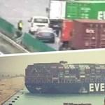 Evergreen-konténer blokkolt egy autópályát Kínában