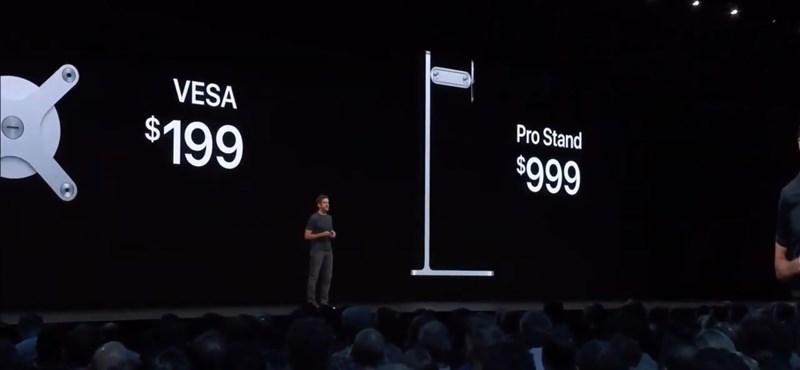 Videó: Így reagált a közönség, amikor az Apple bemutatta a 999 dolláros monitorállványt