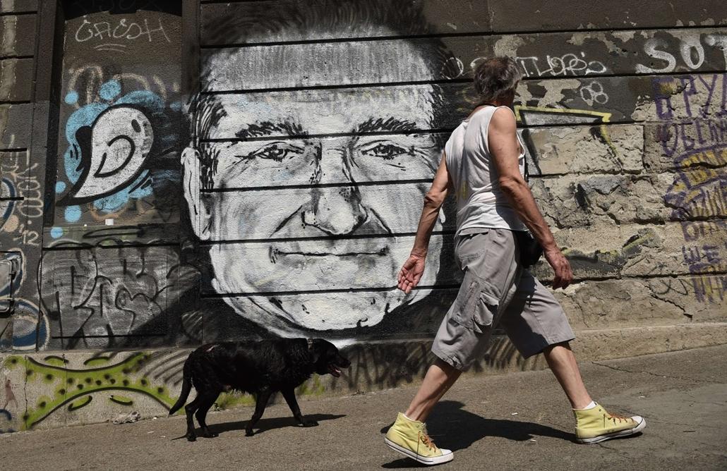 afp. Robin Williams, 2014.08.13. Belgrád, Szerbia, graffiti