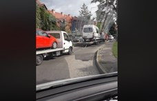30 méteres tréler-pótkocsi-tréler-pótkocsi vontatást videóztak Szolnokon