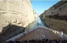 Lenyűgöző videó: ekkora hajó még soha nem ment át a Korinthoszi-csatornán