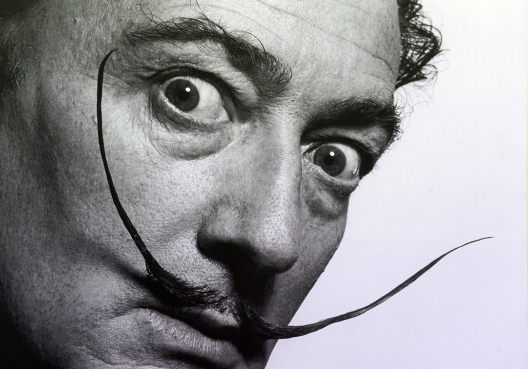 afp. nagyítás - Salvador Dali 110 éve született - UNITED STATES, New York : A photograph of the artist Salvador Dali by Philippe Halsman is on display at the art fair 'The Armory Show' in New York, USA, 06 March 2014. Photo: Felix Hoerhager/dpa - NO WIRE